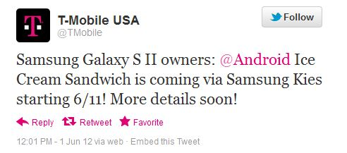 gs2tmoics T Mobile announces Android 4.0 for Samsung Galaxy S II coming June 11th