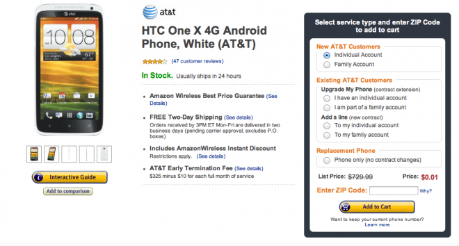 Screen Shot 2012 10 08 at 8.16.37 PM 660x354 Deal: Amazon Wireless Offering HTC One X For $0.01 With New Contract Deal Alert