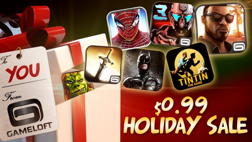 holidays 1024x576 Most Gameloft Android games drop to $0.99 for the holidays